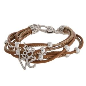 Faux leather bracelet w/ paw print love